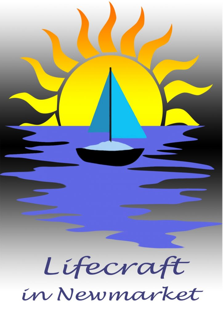 Lifecraft in Newmarket logo. A sail boat in front of a sun